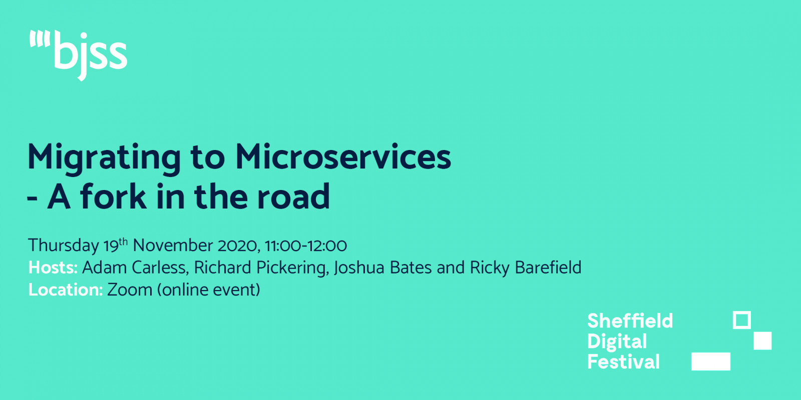 Migrating to Microservices - A fork in the road - BJSS header image